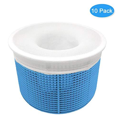 Aiglam 10er Pack Schwimmbad Skimmer Socken, Pool Filter Saver Socken Netz für Filter Skimmer Korb, Ultrafein Mesh Screen Liner für Schwimmbad Korb