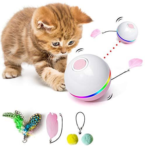 Fairwin Katzenspielzeug, Interaktives Katzenspielzeug, Ball Mit LED-Licht und Katzenminze-Spielzeug für den Innenbereich, Lustiger Chaser-Roller, 360 Grad Selbstdrehend & USB Wiederaufladbar