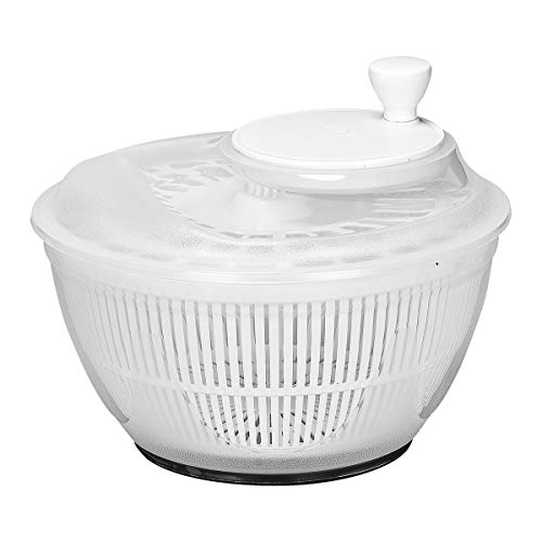 Large Salad Spinner Lettuce Dryer Easy Spin Salad Spinner Large Vegetable Washer Manual Salad Spinner Vegetable Dryer Plastic Sieve Durable Colander (White)