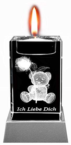 Kaltner Präsente Nastrojowe światło – wyjątkowy prezent: świeca LED / kryształ blok szklany / laserowy grawerunek 3D świecznik na tealighty Rose ICH Liebe Dich