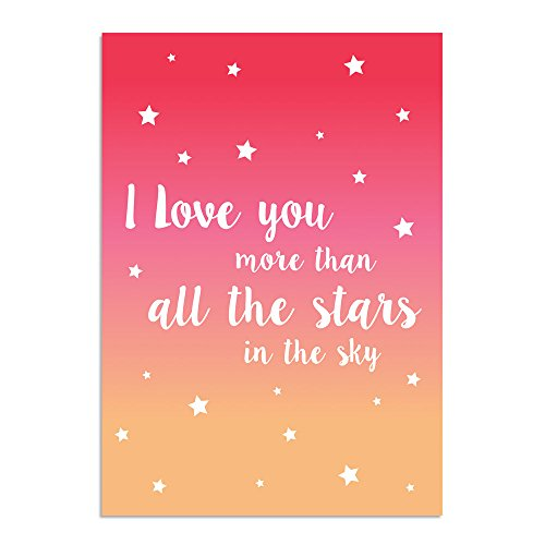 DesignClaud I Love You More Than All The Stars-Pink Oranje-Kwekerij Poster-Wall Art-A4 Mate, Papier 29.7 x 21 x 0.1 cm