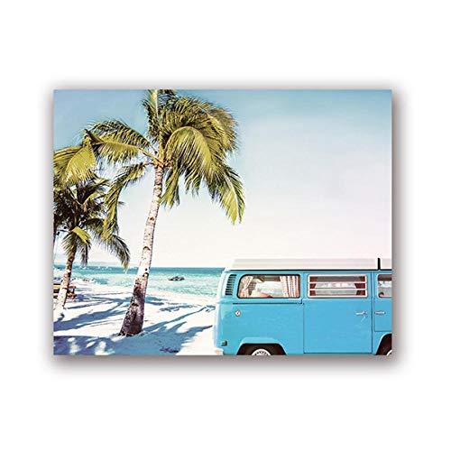 xwwnzdq Retro Wall Art Posters en graveren, blauw, Van Bus Surfen, Bedrukken, strand, kunstlinnen, achterkant voor slaapkamer, huisdecoratie, zonder lijst 50x70 cm No Frame Een
