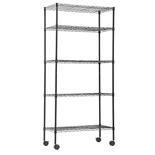 BestOffice 14x30x60 Storage Shelves Heavy Duty Shelving 5 Tier Layer Wire Shelving Unit with Wheels Metal Wire Shelf Standing Garage Shelves Storage RackAdjustable NSF CertifiedBlack