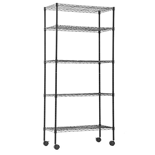 BestOffice Storage Shelves Heavy Duty Shelving 5 Tier Layer Wire Shelving Unit with Wheels Metal Wire Shelf Standing Garage Shelves Storage Rack,Adjustable NSF Certified 14'x30'x60' (Black)