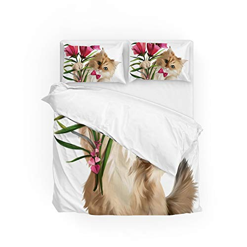 Top Carpenter Aquarela Gatinho com flores Jogo de cama Capa de edredom Conjunto 3 peças 1 capa de edredom 2 fronhas tamanho Queen 223,5 x 228,6 cm