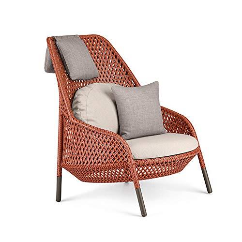 ALVEN - Silla de jardín de ratán para el hogar, sala de estar, dormitorio al aire libre con patas de metal y cojín naranja