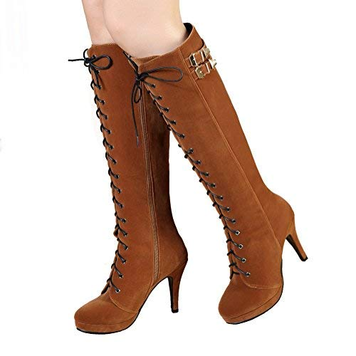 82f508d687f19 getmorebeauty Womens Suede Buckle Rock Lace Up Zipped Knee High Boots High  Heel Boots