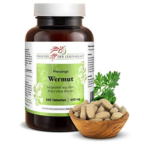 Wermut Tabletten à 600mg, 340 Tabletten, (Artemisia absinthium, bitterer Beifuß), Premium Qualität, Hergestellt in Österreich, Tabletten statt Kapseln, Vegan