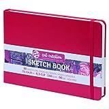ターレンス アートクリエーションスケッチブック 絵を描く手帳 21×15cm 赤 厚み140g/㎡ 細目 中性 80枚綴じ T9314-205M