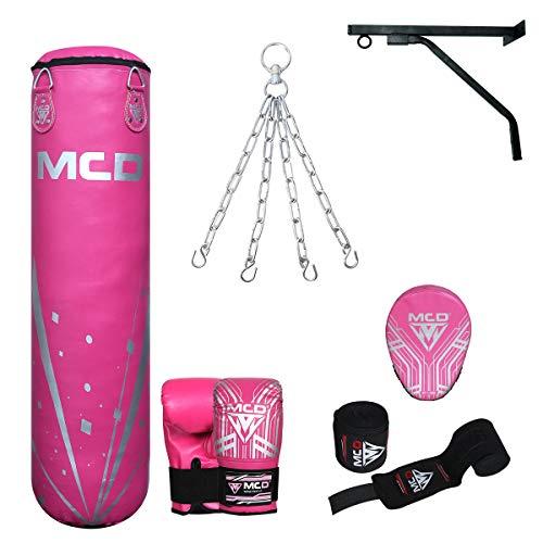 MCD Sports Boxsack, ungefüllt, Pink, 122 cm, Set mit rosa Muay Thai mit Handschuhen, MCD Pink Focus Pad, Handwickel ideal für MMA, Kampfsport, Kickboxen in 122 cm