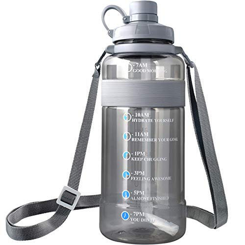 Large Water Bottle with Straw BPA Free, Sports Water Bottle with Strap Portable Motivational Water Bottle with Time Marker Water Bottle Leak Proof Gallon Water Jug Wide Mouth. (118oz, grey)