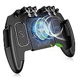 IUGGAN 荒野行動 PUBG Mobile Codモバイル コントローラー 冷却ファン付き 6本指 スマホゲームパッド 放熱対応一体式 引き金式高速射撃ボタン 高感度 操作性アップ手触り改良 優れたゲーム体験 エイムアシスト iPhone/Android 等対応