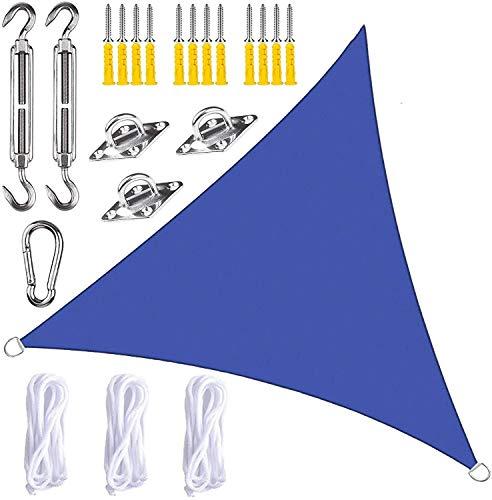 BXFUL Toldo de vela con kit de fijación, triángulo, impermeable, antiUV, para patio, terraza, jardín, actividades al aire libre (azul real, 5 x 5 x 5 m)