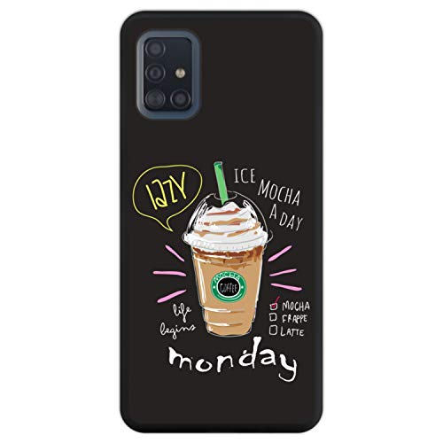 Telefoonhoesje voor [ Samsung Galaxy A51 ] tekening [ Mokka koffie, het leven begint maandag ] Zwart TPU flexibele siliconen schaal
