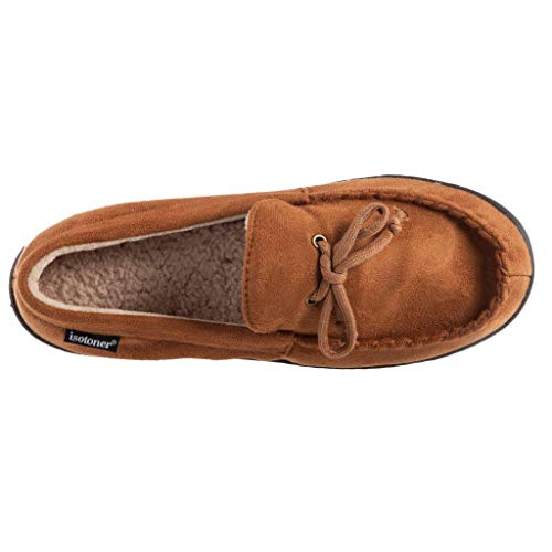 Men's Microsuede Moccasin Slipper with Cooling Memory Foam for Indoor/Outdoor Comfort