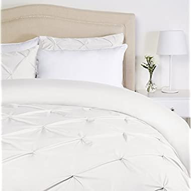Pinzon Pinch-Pleat Duvet Cover Set - Full/Queen, White