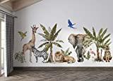 Osomhome Dschungeltiere 190x90cm - Safari, Zebra, Löwe, Tiger, Giraffe, Flamingo, Elefant, tropische Bäume Kinderzimmer Junge Babyzimmer Wandsticker Wandaufkleber Bilder Wandtattoo os4016