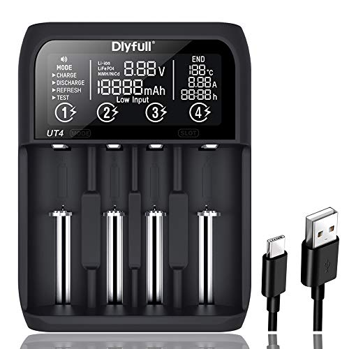 Dlyfull UT4 Batterieladegerät für 4XAkkus Batterien Li-Ionen/IMR/INR/ICR/NI-MH/NI-Cd / LiFePO4 mit 5 Ladeprogrammen: Laden, Entladen, Testen, Refresh, USB Powerbank