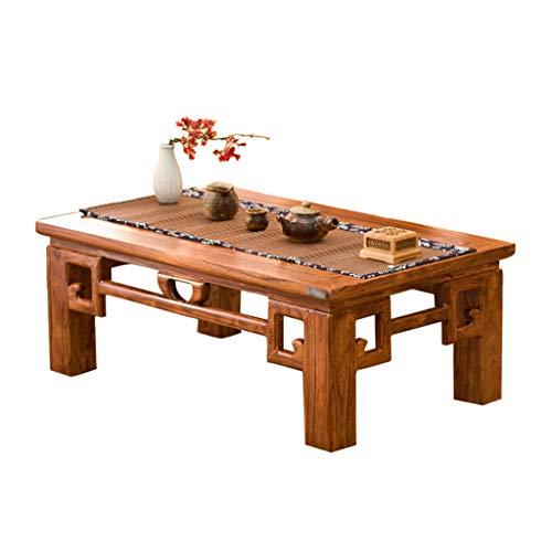 Tables Basse Tatami Basses Sculptée Antique Fenêtre en Bois Massif Basse Lit De Thé Antique Petite Chinoise Basses (Color : Brown, Size : 50 * 40 * 25cm)
