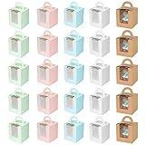 25 Piezas Cajas de Cupcakes,Caja Pasteleria,Cajas para Regalo,con Ventana de PVC Transparente Muffin Simple,para Cumpleaños Boda Fiesta Comunion Navidad Año Nuevo