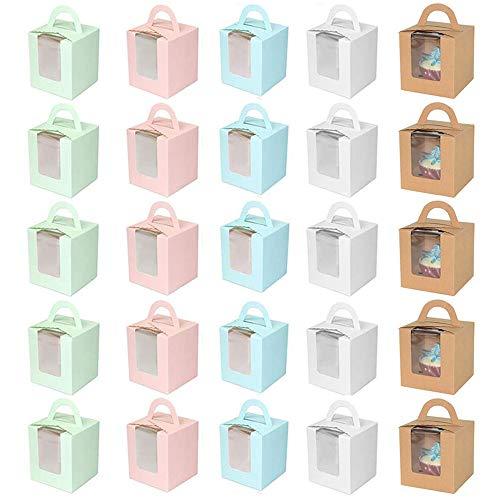 25 Pezzi Cupcake Scatola,Singole Scatole per Cupcake,Scatole per Muffin,Carta kraft Scatole Regalo,per Dolci, Scatole Cioccolatini Fai da Te per Compleanno,Feste