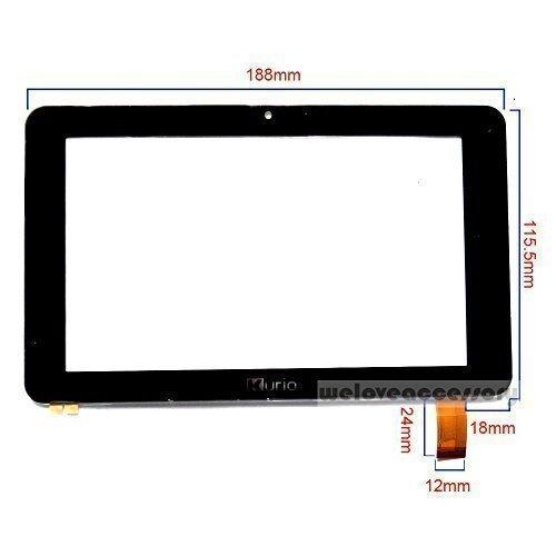 Dyysells vervangglas beeldscherm 7-Zhongkon-Kurio-12 mm-003. 7 inch, voor tablet, pc, touchscreen.