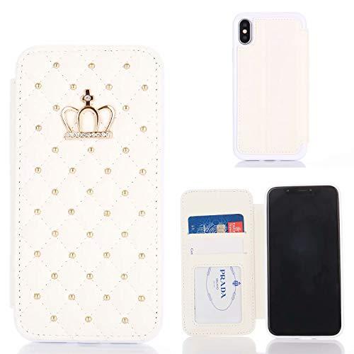 Miagon Diamant Brieftasche Hülle für iPhone XR,Krone Niet Design PU Leder Klapphülle Ständer Kartenfach Flip Case Cover Schutzhülle,Weiß