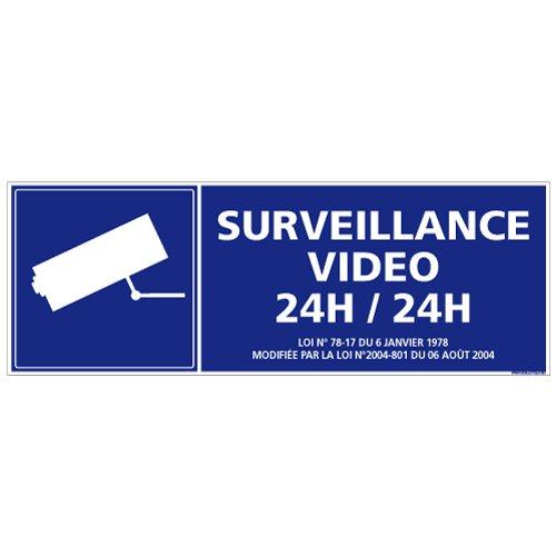 Adhésif - Surveillance Vidéo 24H / 24H - Dimensions 210 x 75 mm - Protection Anti-UV