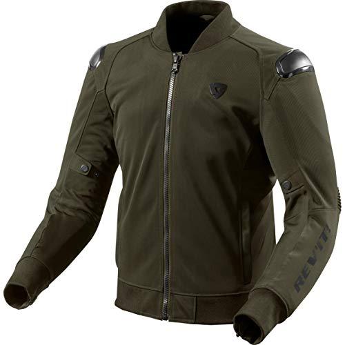 REV'IT! Motorradjacke mit Protektoren Motorrad Jacke Traction Textiljacke dunkelgrün L, Herren, Sportler, Sommer