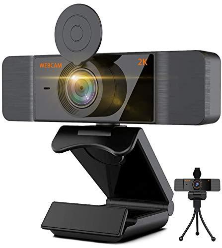 Webcam 2K FHD mit Mikrofon für Desktop Laptop Mac Web Camera mit Autofokus,Kamera für Streaming,Videoanruf,Konferenz,Online-Unterricht,Spiel Plug & Play,Videokamera mit Datenschutzabdeckung und Stativ