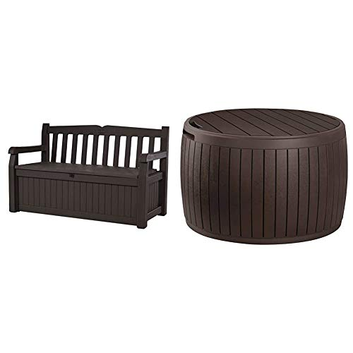 Keter Eden 70 Gallon Storage Bench Deck Box for Patio Furniture, Front Porch Decor and Outdoor Seating,Brown/Brown & Circa 37 Gallon Round Deck Box, Patio Table for Outdoor Cushion Storage, Brown