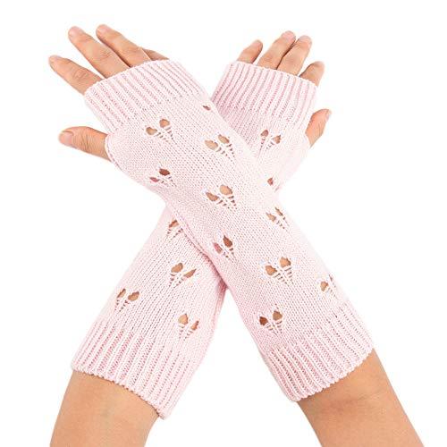 OSYARD Damen Pulswärmer Halbfinger Handschuhe Wollhandschuhe Winterhandschuhe Strickhandschuhe, Frauen Handwärmer Wollstulpe Fäustlinge Winter Wrist Warmers Gestrickte Lange Fingerlose Handschuhe