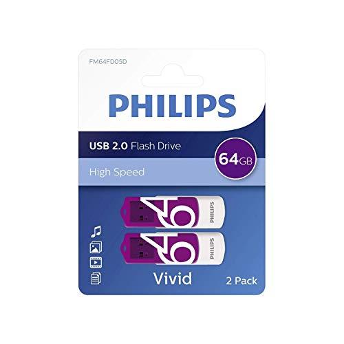 PHILIPS Vivid Edition USB 2.0 da 64 GB, in Confezione da 2, di Colore Viola (Etichetta in Lingua Italiana Non Garantita)