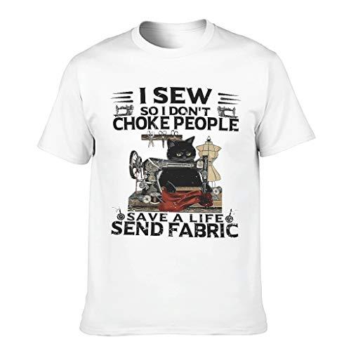 Camiseta de manga corta para hombre con diseño de gato y texto en alemán blanco XXXL
