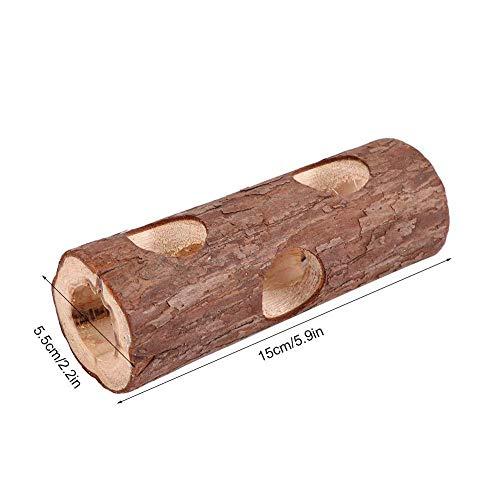 JSWFZ - Tubo de ejercicio para animales de madera, juguete masticable para conejo, hámster, conejo, hámster, juguete para mascotas pequeñas (color: S)