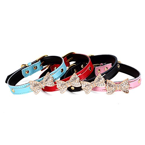 Hunde-Halsbänder, Welpen, niedliche Kristall-Schleife für kleine Haustiere, Halsband, für Katzen, Glöckchen-Halsband, für Hunde, verstellbar, Leder, Schnalle, Gurt, Halsbänder