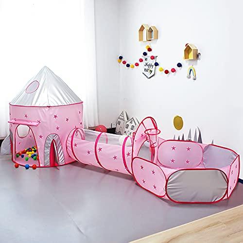 Achort 3 en 1 Tienda Campaña Infantil, Piscina de Bolas + Casita Infantil + Tunel Infantil: Plegable Parque Bebe Bolas Infantil Jardín Exterior Interior Juguetes Niños Niñas Bebes Casitas Tela, Rosa