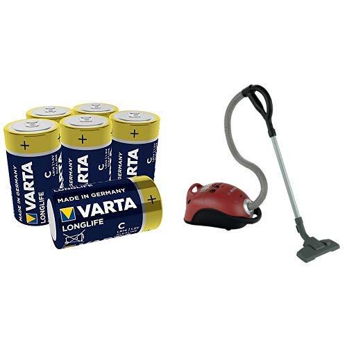 Varta Longlife Batterie C Baby Alkaline Batterien LR14 - 6er Pack (Design kann abweichen) + Theo Klein 6828 - Bosch Staubsauger, Spielzeug