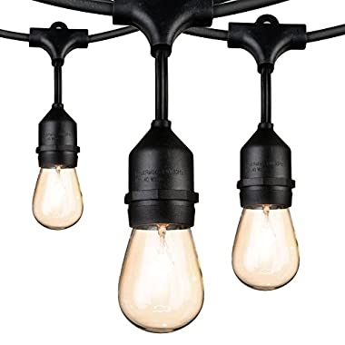 48 Ft Outdoor Patio String Lights with 15 x 11W S14 Dimmable Vintage Bulbs, Commercial Weatherproof Hanging Light String for Deck Backyard Bistro Cafe Market Pergola Garden Wedding Party Decor, Black