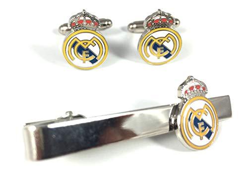 Gemelolandia   PACK Pasador de Corbata y Gemelos Real Madrid Gemelos Originales Para Camisas   Para Hombres y Niños   Regalos Para Bodas, Comuniones, Bautizos y Otros Eventos