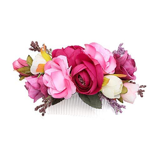 Ever Fairy Handarbeit Mode Blume Haarkamm für Frauen Mädchen Brautjungfer Kleid Kamm Satin Kamm Zubehör (A)