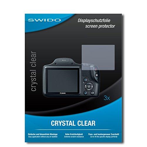 SWIDO Bildschirmschutzfolie für Canon PowerShot SX530 HS [3 Stück] Kristall-Klar, Extrem Kratzfest, Schutz vor Öl, Staub & Kratzer/Glasfolie, Bildschirmschutz, Schutzfolie, Panzerfolie