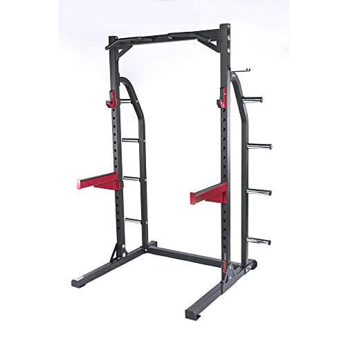 Fuel Fitness Half Cage HR400 Verstellbarer Kniebeugeständer mit Sicherheitsablagen und Hantelscheibenständer, Squat Rack, Kniebeugeständer mit Klimmzugstange, bis 272kg belastbar