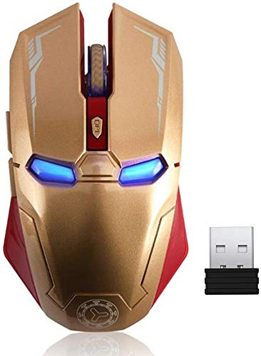 Iron Man Mouse Wireless Mouse 2.4G Portable Mobile Optical with USB Nano Receiver, 3 Adjustable DPI Levels, 6 Buttons for Notebook, PC, Laptop, Computer, MacBook - Gold