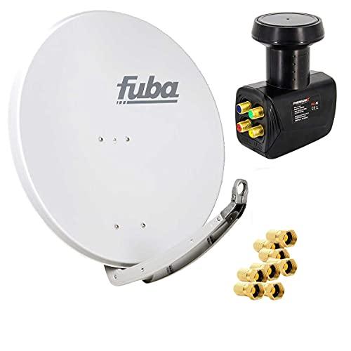 Fuba Digital Sat-Anlage DAA 850 W Satellitenschüssel Weiß 85x85cm + PremiumX Quad LNB für 4 Teilnehmer + 8 F-Stecker - Komplett Set HDTV Full HD 4K tauglich + 8X F-Stecker