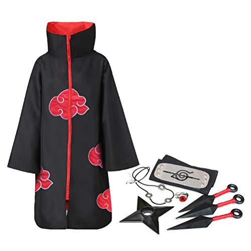 ExH Robe Cosplay Anime Kostüm, 8 Stück Anime Naruto Akatsuki Kostüm Lange Robe Japanischer Anime Umhang Cosplay Kostüm Stirnband Volles Zubehör