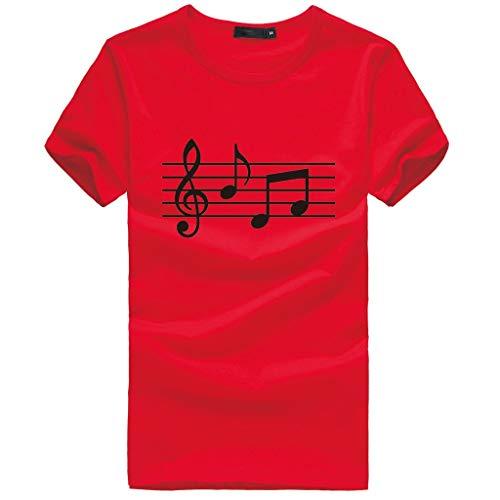 Yowablo Tee Shirt Homme Chemise Haut Chemisier Nouveau Design Unisexe Impression 3D col Rond Musical Manches Courtes (L,Rouge)