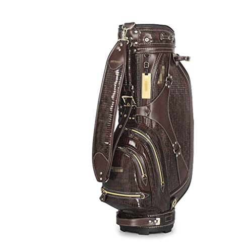 FEANG Golf Bag Waterproof Golf Bag for The Driving Range Training PU Leather Golf Bag Stand 5 Way Dividers Golf Club Bags for Man Women Golf Stand Bag (Color : Brown)