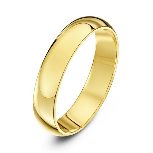 Theia Unisex 18 ct Yellow Gold, Super Heavy D Shape, Polished, 4 mm Wedding Ring, Size V