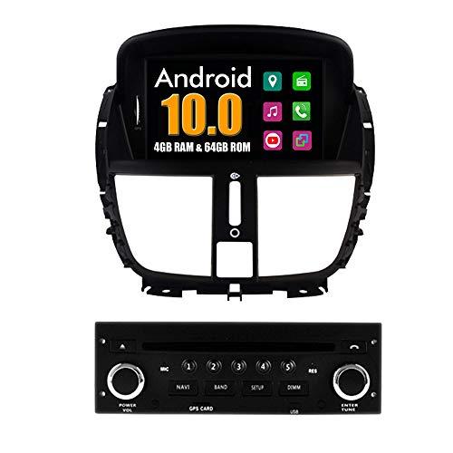 Roverone Android System 7 Zoll Autoradio GPS für Peugeot 207 mit Navigation Radio Stereo DVD Bluetooth SD USB Touch Bildschirm